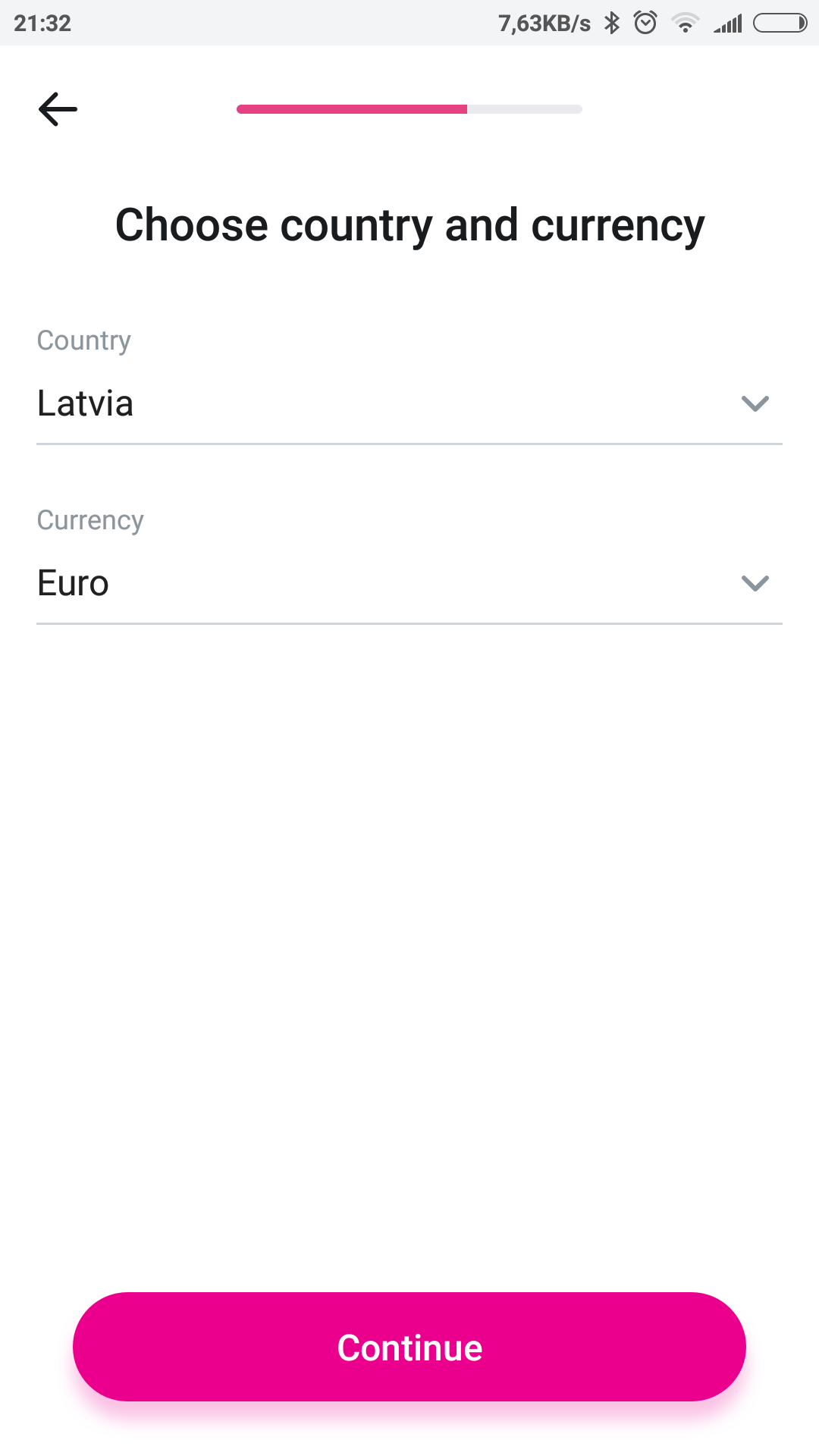 Revolut - choose country and currency