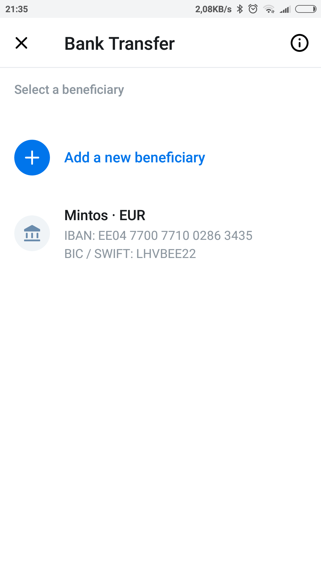 Revolut - list of beneficiary