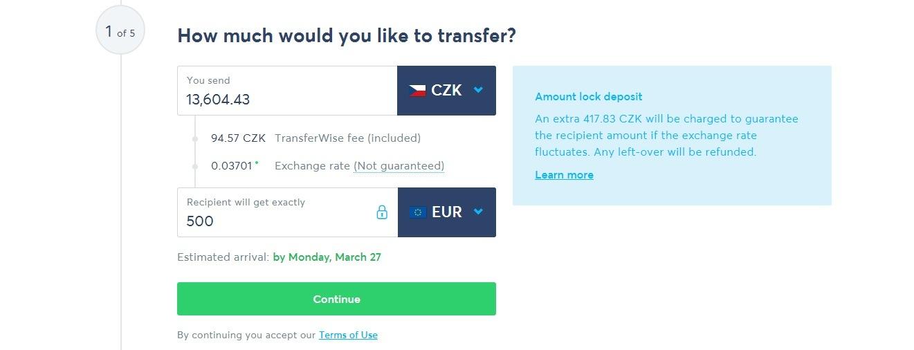 TranferWise - krok 1/5 - částka a rozepsání poplatků