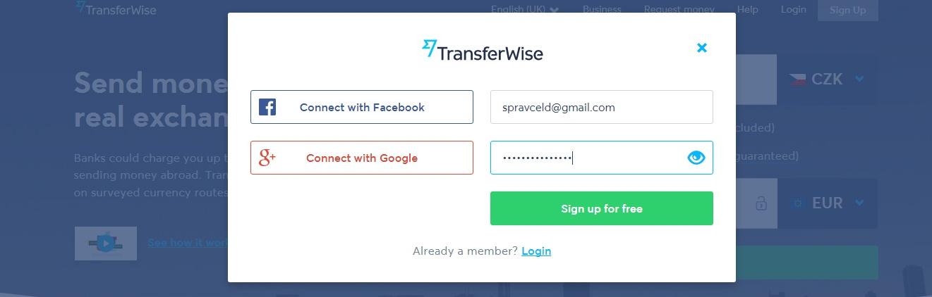 TransferWise - registrace