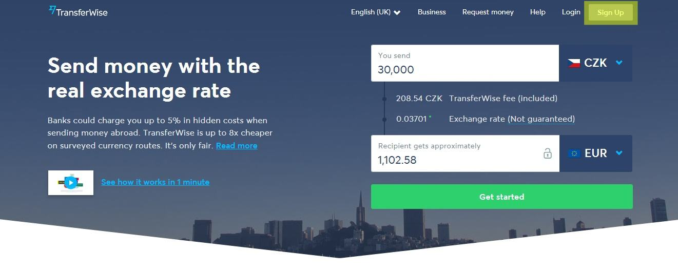 TransferWise - sign up