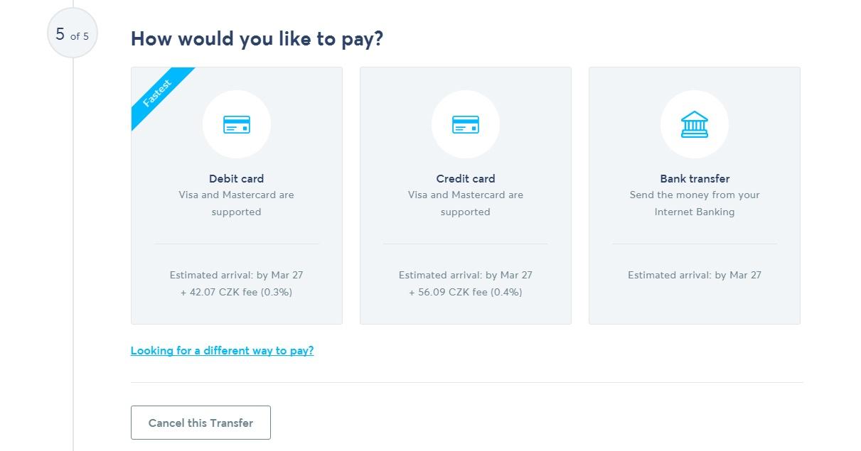TransferWise - výběr způsobu platby