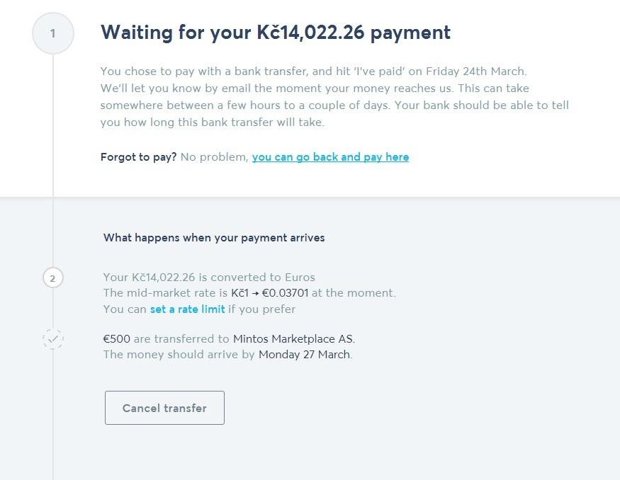 TransferWise - očekávání platby