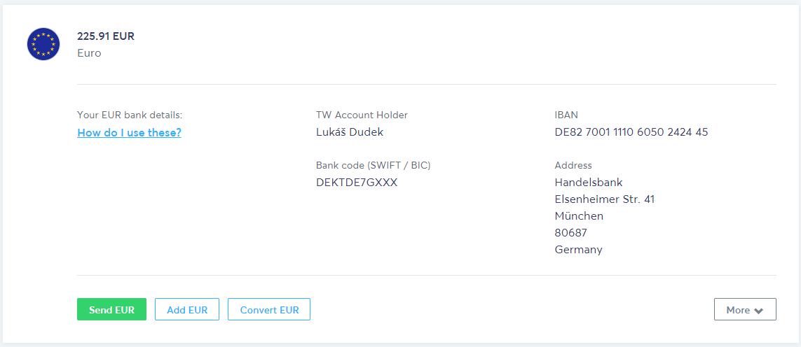 Transferwise borderless account - detail EUR účtu