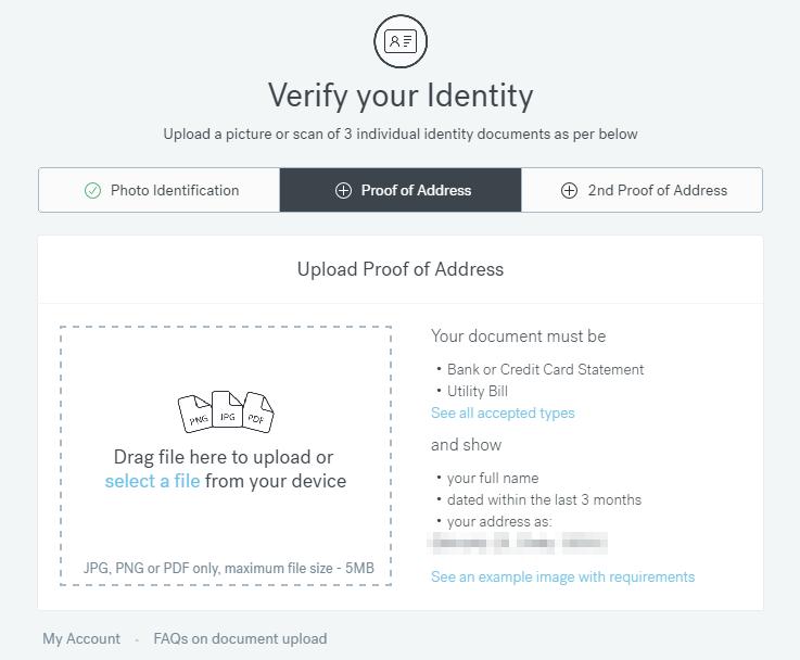 CurrencyFair - ověření identity.