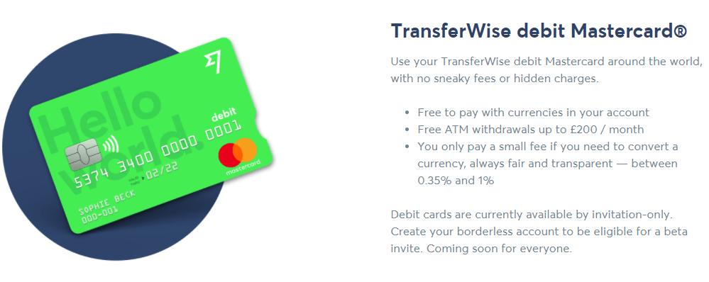 Transferwise borderless account - debetní karta