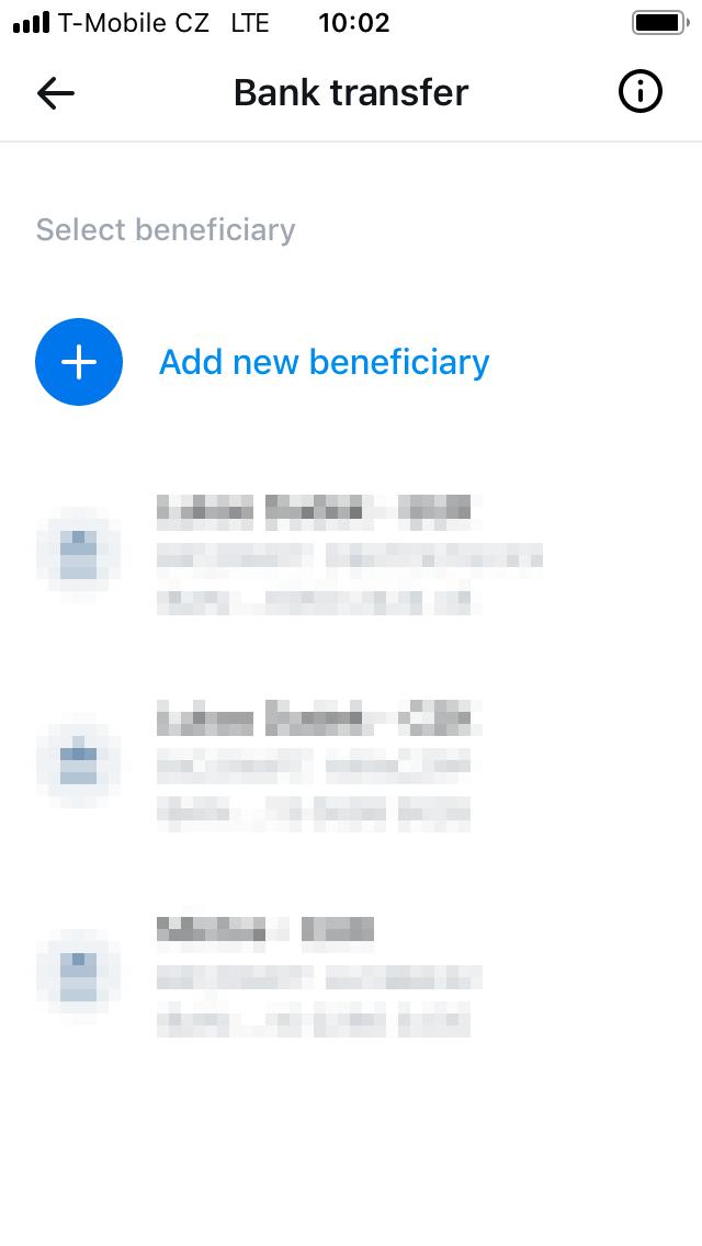 Add new beneficiary.