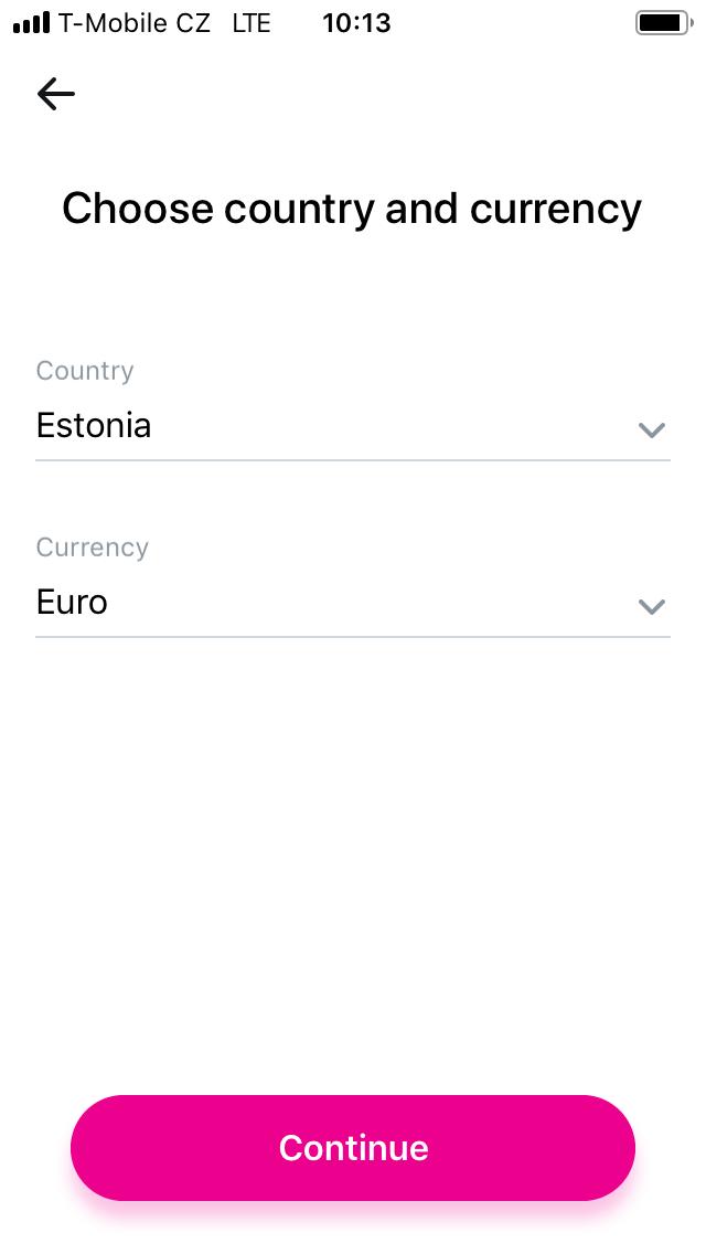 Volba cílové země.