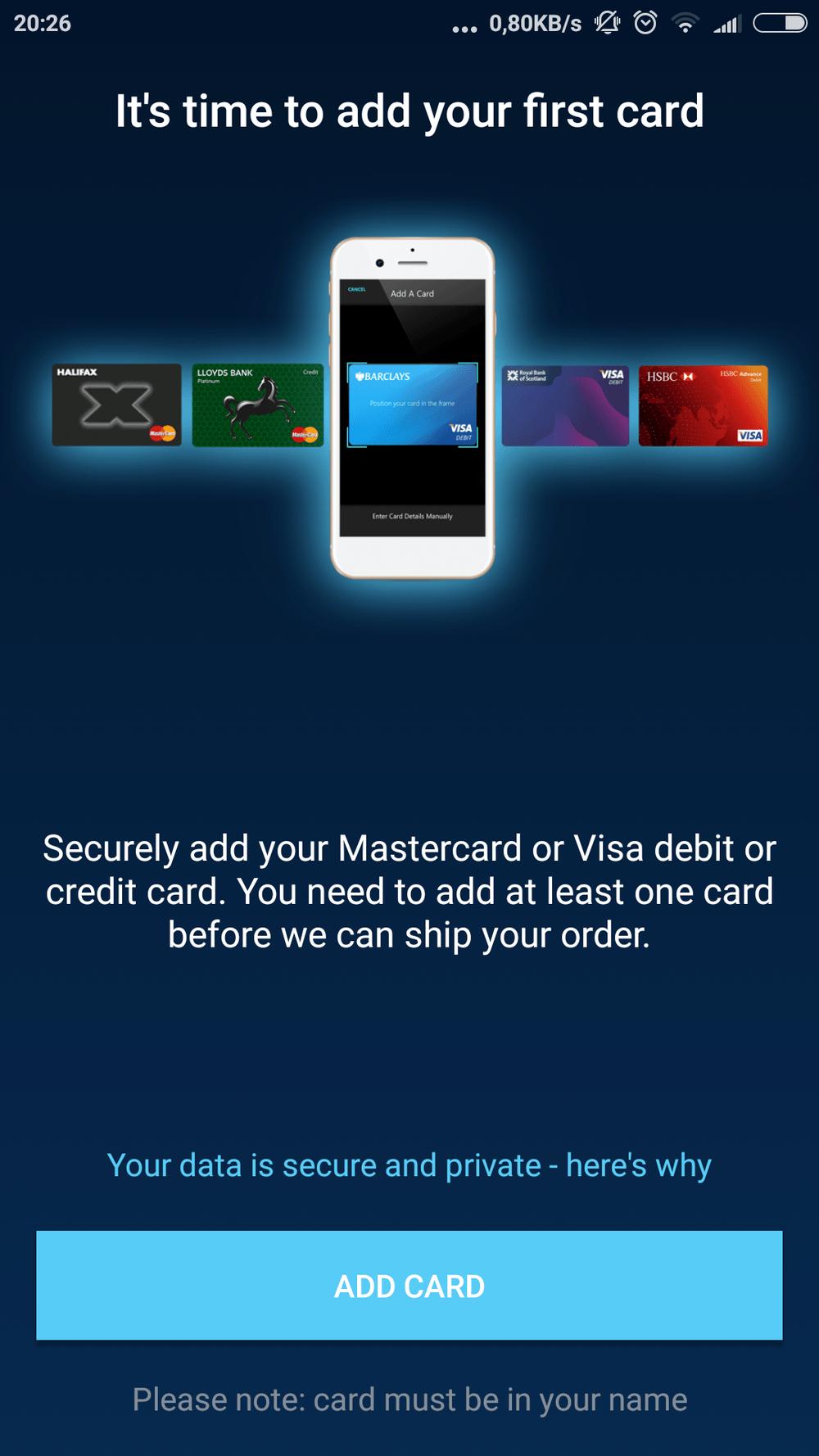 Přidání první karty na Curve