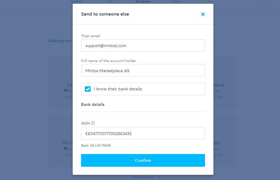 TransferWise odeslání platby na Mintos